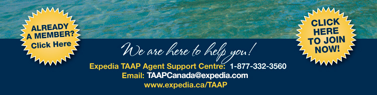 We are here to help you! Expedia TAAP Agent Support: 1-877-332-3560 Email: support@expedia-agents.ca  www.expedia.ca/TAAP